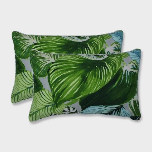 2pk Lush Leaf Jungle Rectangular Throw Pillows Green - Pillow Perfect - image 1 of 1
