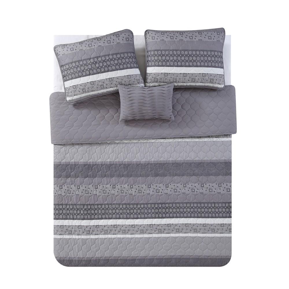 4pc King Casper Quilt Set Gray - Vcny Home