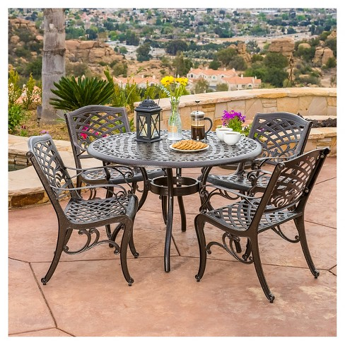 Super Hallandale Sarasota 5Pc Cast Aluminum Patio Dining Set Bronze Christopher Knight Home Home Interior And Landscaping Eliaenasavecom