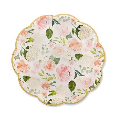 Set Of 24 Floral Premium Paper Plates Cream
