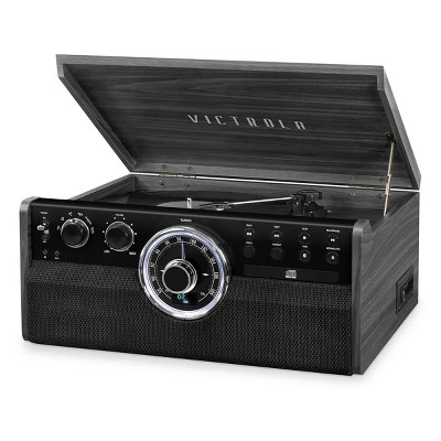 Victrola 6-in-1 Wood Empire Bluetooth Record Player with 3-Speed Turntable, CD, Cassette Player and Radio