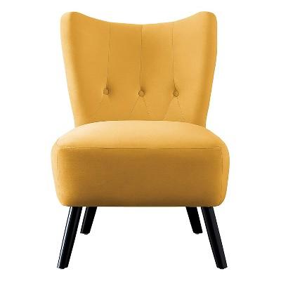 Homelegance Imani Mid Century Modern Velvet Accent Upholstered Living Room Bedroom Lounge Chair, Yellow
