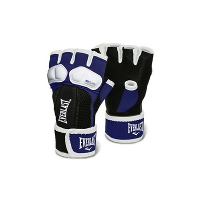 Everlast Prime EverGel Foam Padding Wrist Support Hand Wraps Gloves Size Medium, Navy Blue and White