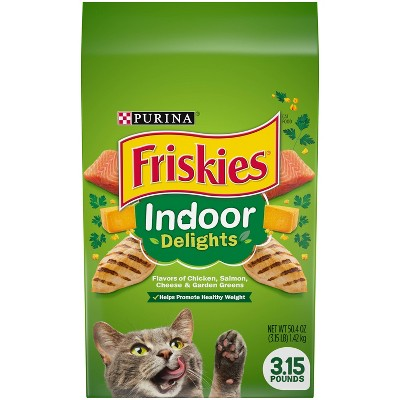 Purina Friskies Indoor Delights with Flavors of Chicken, Salmon, Cheese & Greens Adult Complete & Balanced Dry Cat Food