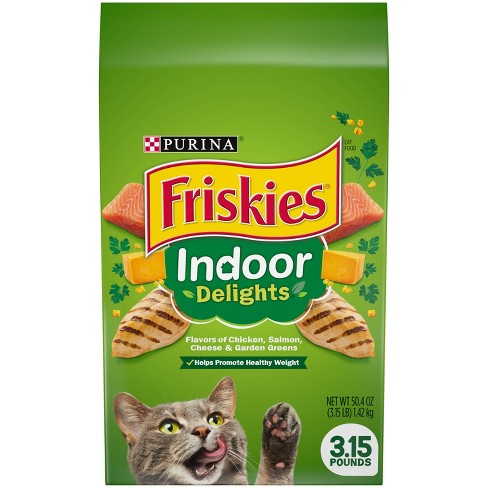 Purina Friskies Indoor Delights with Flavors of Chicken, Salmon, Cheese & Greens Adult Complete & Balanced Dry Cat Food - image 1 of 4