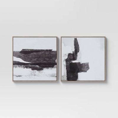 "(Set of 2) 24"" x 24"" Framed Canvas Black - Threshold™"