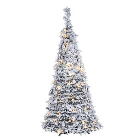 Slim Flocked Christmas Tree With Lights.4ft Sterling Tree Company Pop Up Pre Lit Led Flocked Slim Pine Tree With Holy Leaves Artificial Christmas Tree