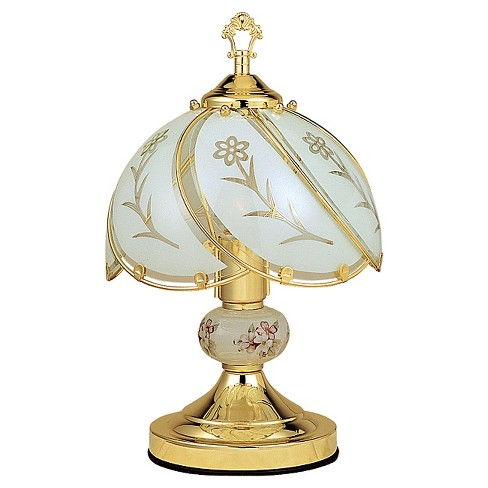 """14.25"""" Antique Metal Table Lamp with Detailed Glass Shade White - Ore International - image 1 of 2"""