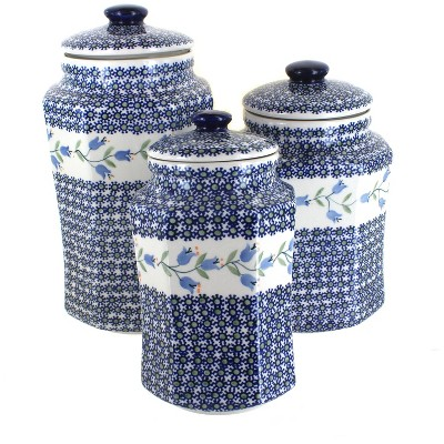 Blue Rose Polish Pottery Tulip 3 PC Canister Set with Seals
