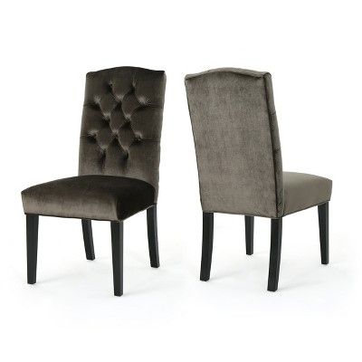 Set of 2 Crown Top Dining Chairs Gray - Christopher Knight Home