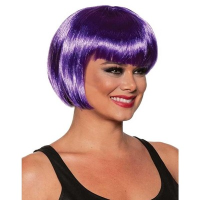 Underwraps Bob Cut One Size Adult Costume Wig | Purple