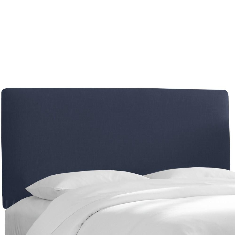 California King Olivia Upholstered Headboard Navy Linen - Cloth & Co.
