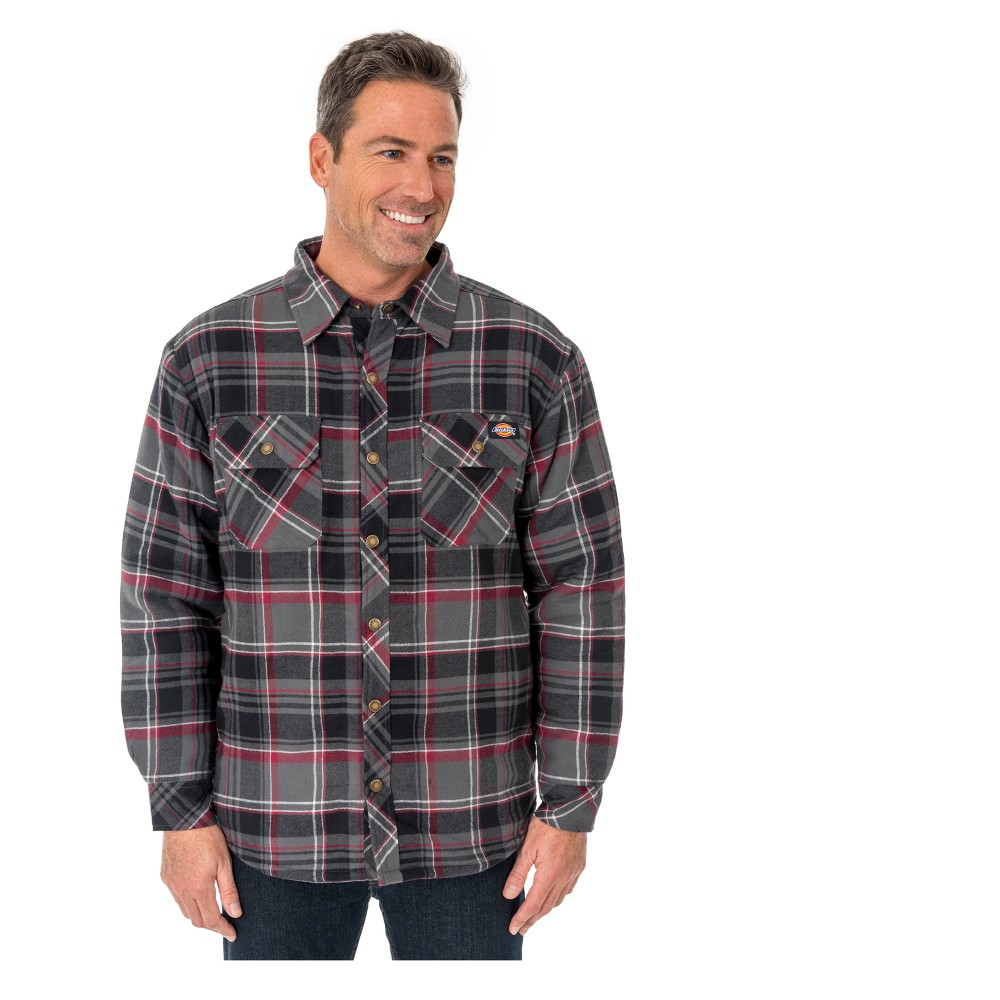 Dickies Men's Sherpa Lined Shirt Jackets - Charcoal/Wine (Grey/Red) 883 M