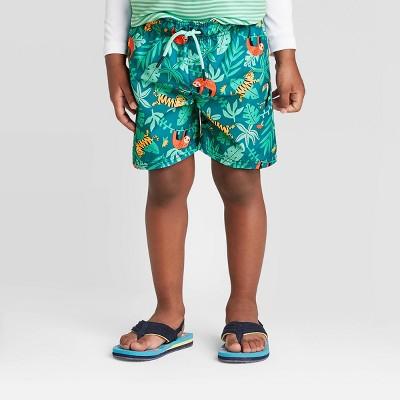 Toddler Boys' Floral Swim Trunks - Cat & Jack™ Teal 12M