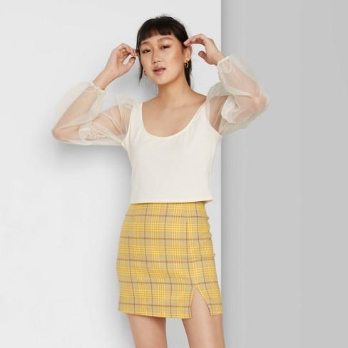 Women's Plaid Side Slit Mini Skirt - Wild Fable™ - image 1 of 4