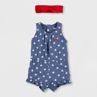 Levi's® Baby Girls' Knit Ruffle Romper with Headband - Navy Heather