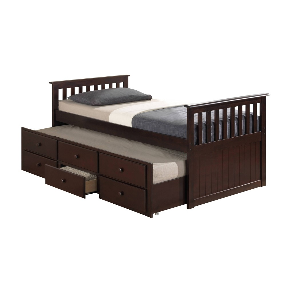 Image of Lagoon Captain's Twin and Full Beds with Trundle Espresso Brown - Broyhill Kids