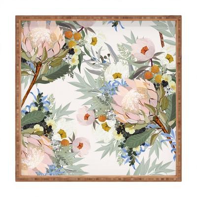 Iveta Abolina Protea Emmaline Square Bamboo Tray - Deny Designs