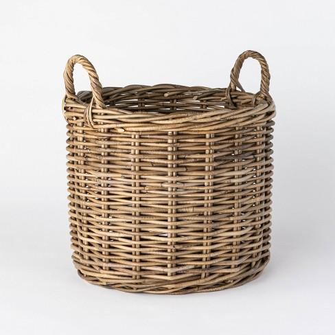 Decorative Round Rattan Basket Gray - Threshold™ designed with Studio McGee - image 1 of 4