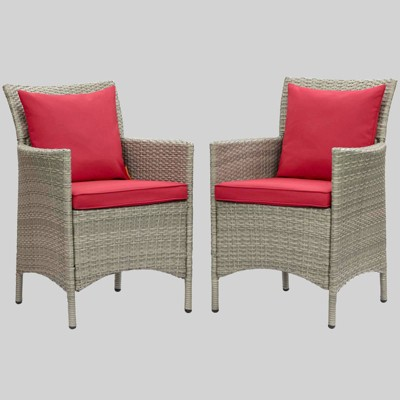 2pc Conduit Outdoor Patio Wicker Rattan Dining Armchair Light Gray - Modway