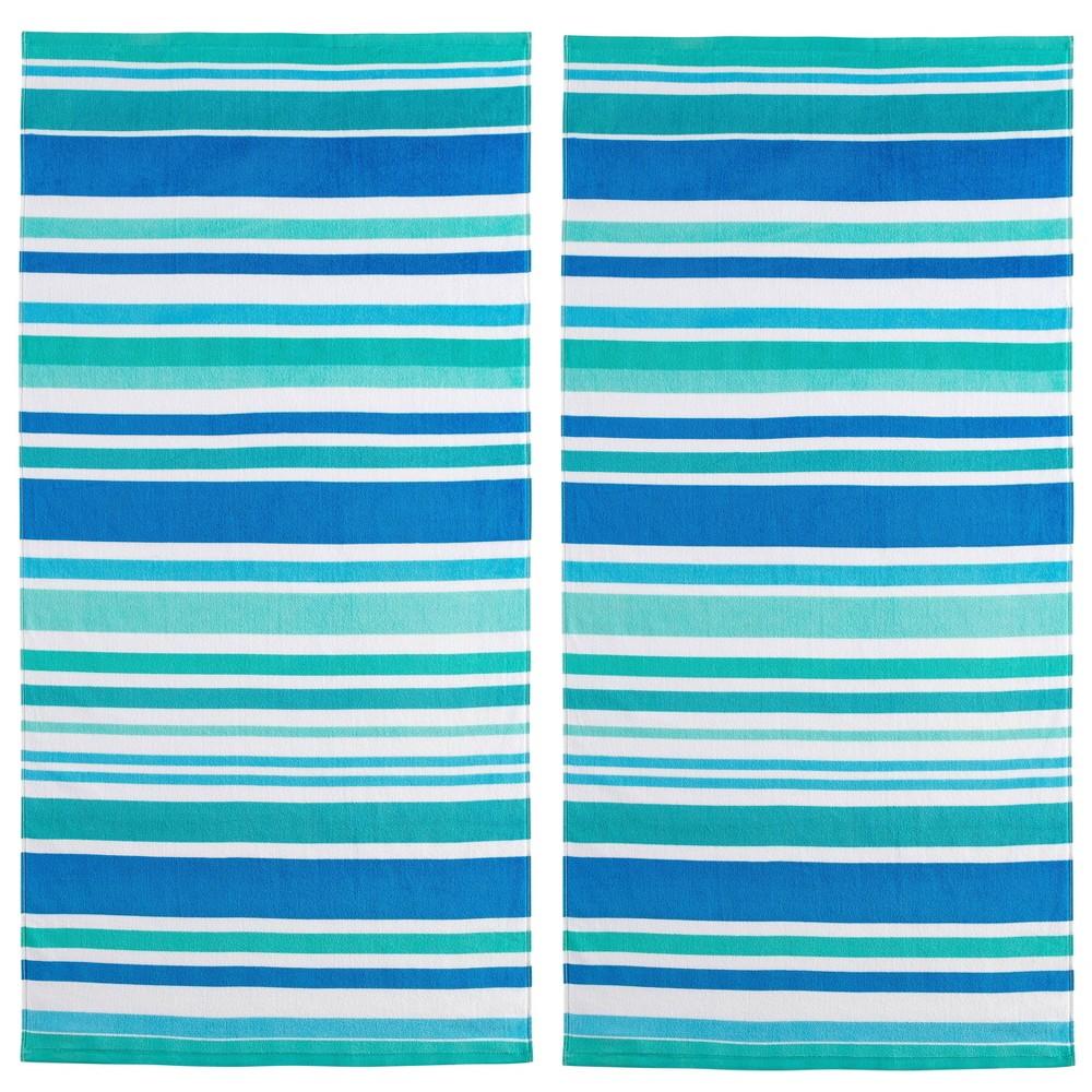 2pk Cabana Striped Fiber Reactive Printed Beach Towels Blue Mudd