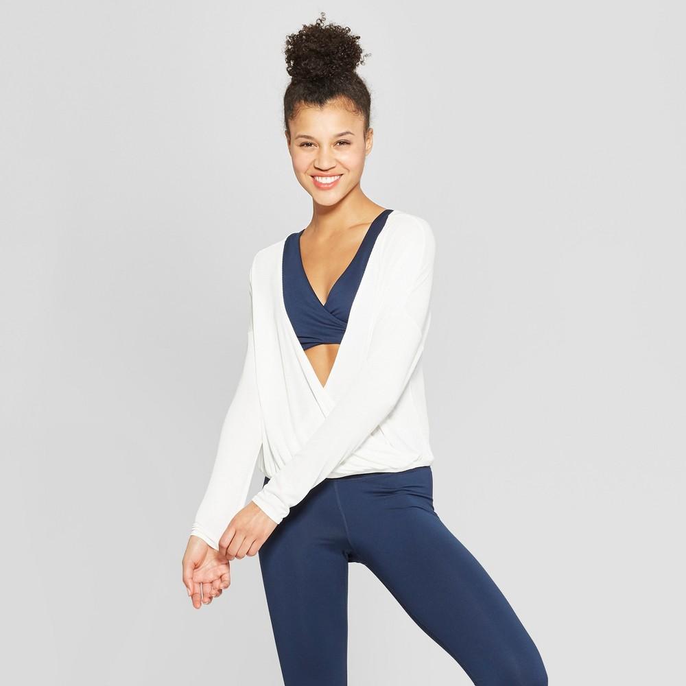 Women's Front to Back Long Sleeve Top - JoyLab Marshmallow Cream L