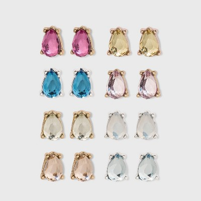 Zinc Stud Earring Set 8pc - A New Day™