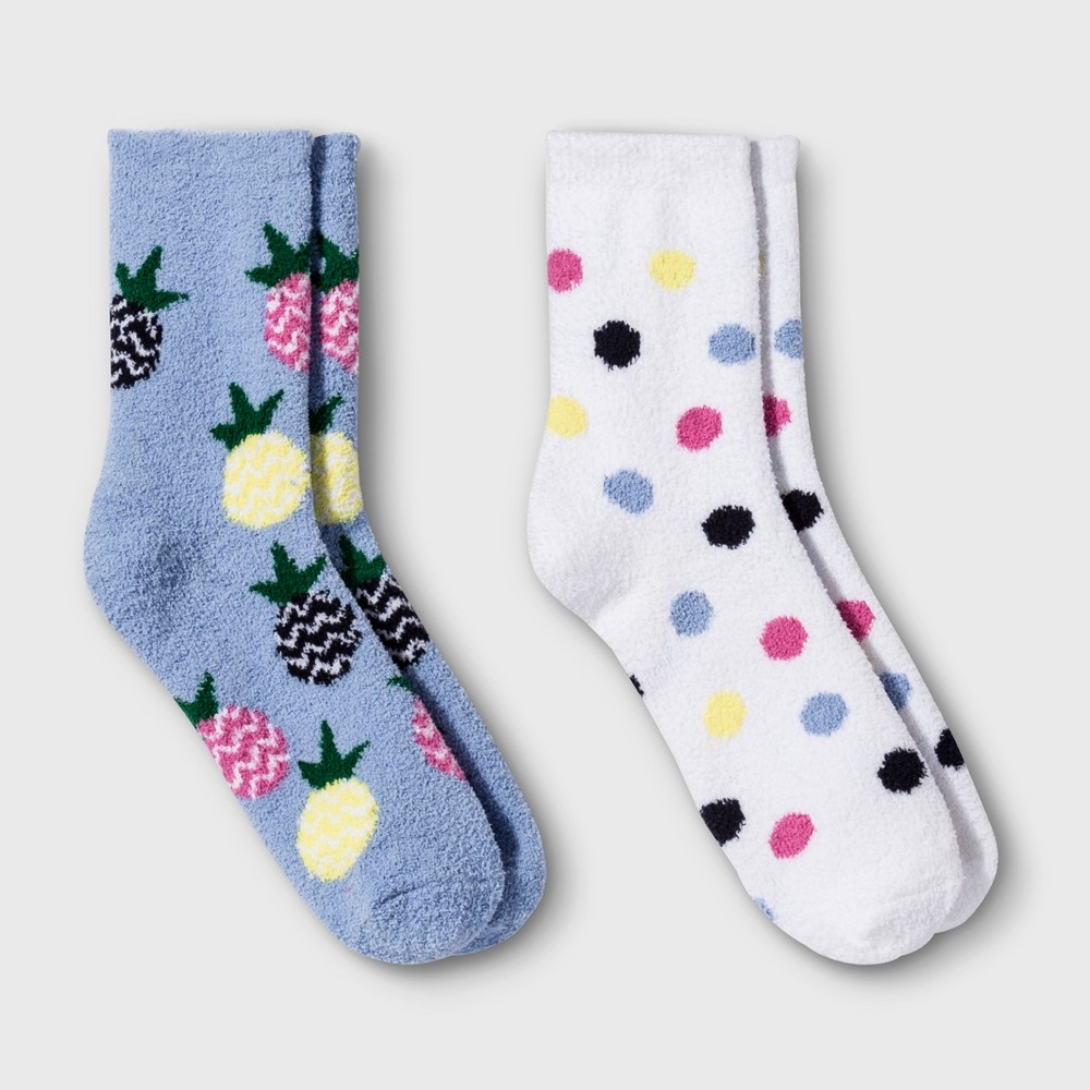 Women's 2pk Pineapple Cozy Crew Socks - Xhilaration Blue One Size