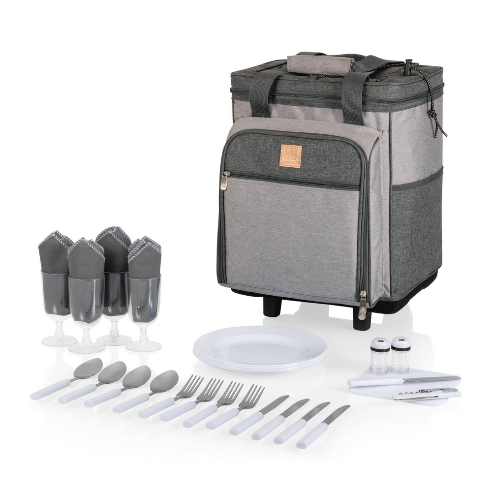 Image of Picnic Time Rolling Picnic Cooler - Heathered Gray