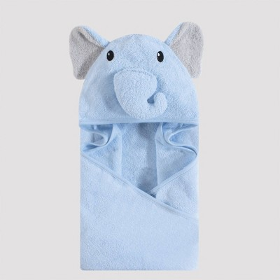 Hudson Baby Elephant Hooded Towel - Light Blue 33x33''