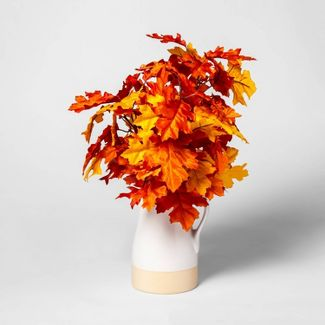 "19"" x 9"" Artificial Oak Leaves Arrangement in Ceramic Pot Orange/Yellow - Threshold™"