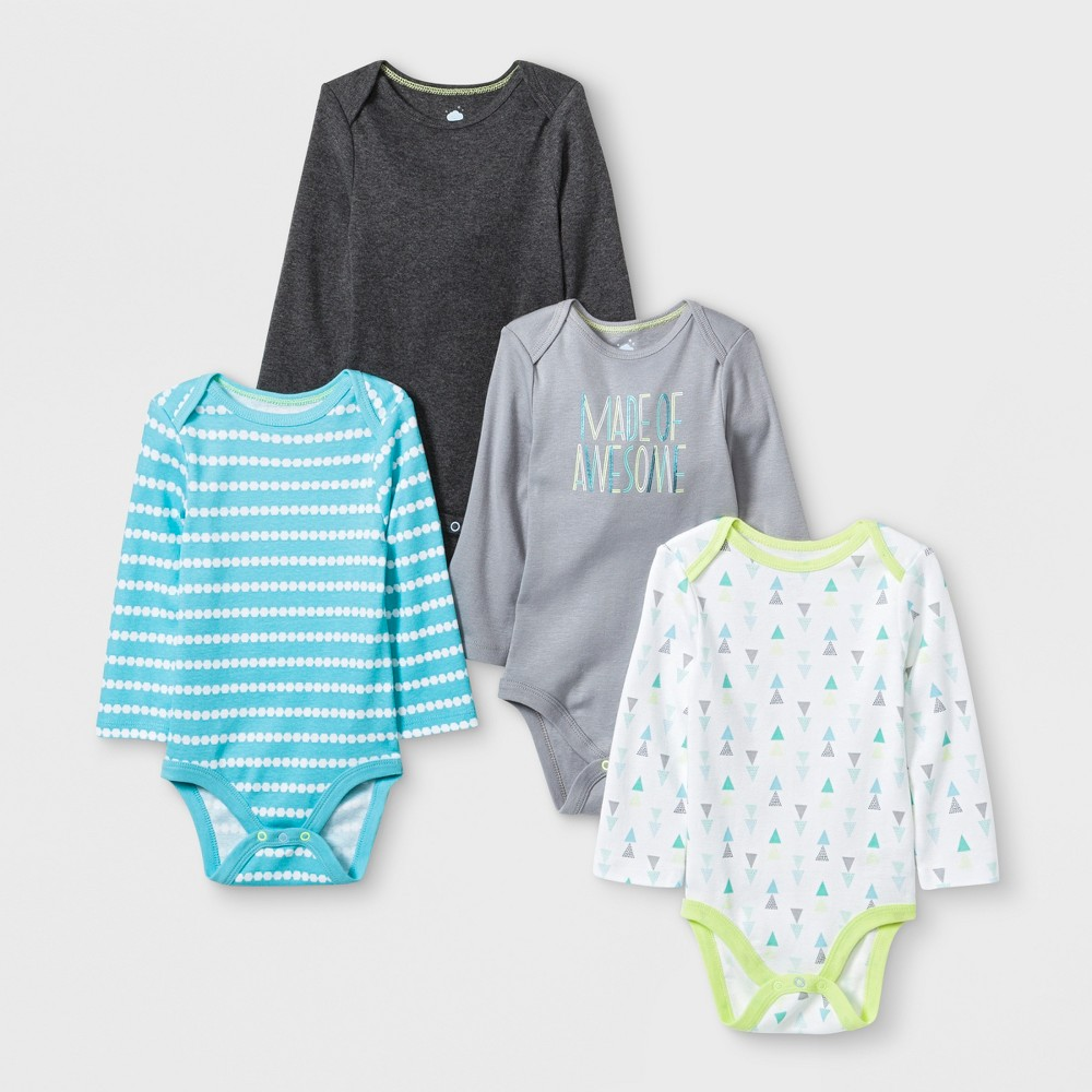 Baby Boys' 4pk Long sleeve Bodysuit - Cloud Island Charcoal Heather 6-9M, Gray