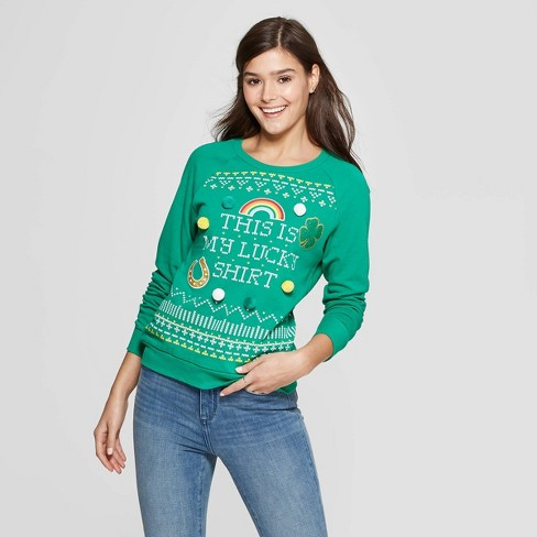 Women's This Is My Lucky Sweater Graphic Sweater - Modern Lux (Juniors') - Green XL - image 1 of 2