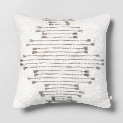 "18"" x 18"" Multi Texture Dash Throw Pillow Light Gray - Hearth & Hand™ with Magnolia"