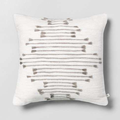 """18"""" x 18"""" Multi Texture Dash Throw Pillow Light Gray - Hearth & Hand™ with Magnolia - image 1 of 2"""