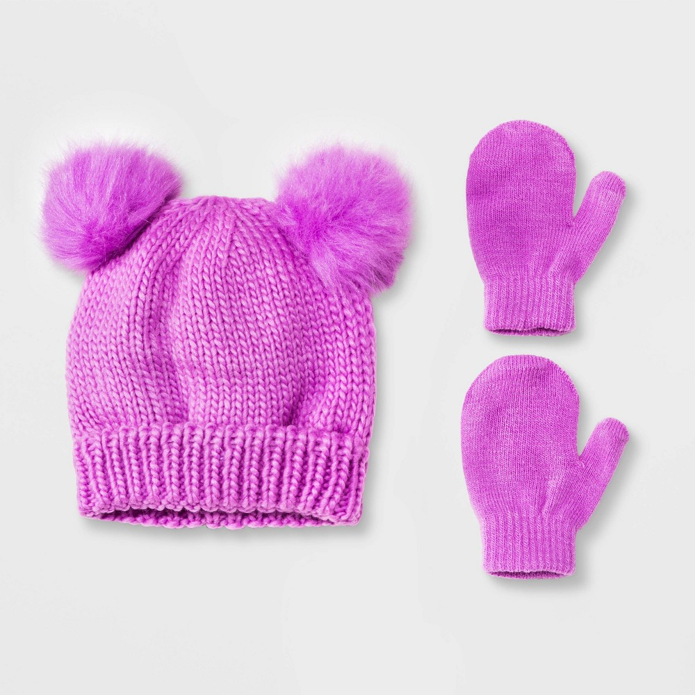 Image of Baby Girls' Beanie with Poms & Magic Mittens Set - Cat & Jack Purple 12-24M, Girl's, Size: 18-24 Months 12-18 Months