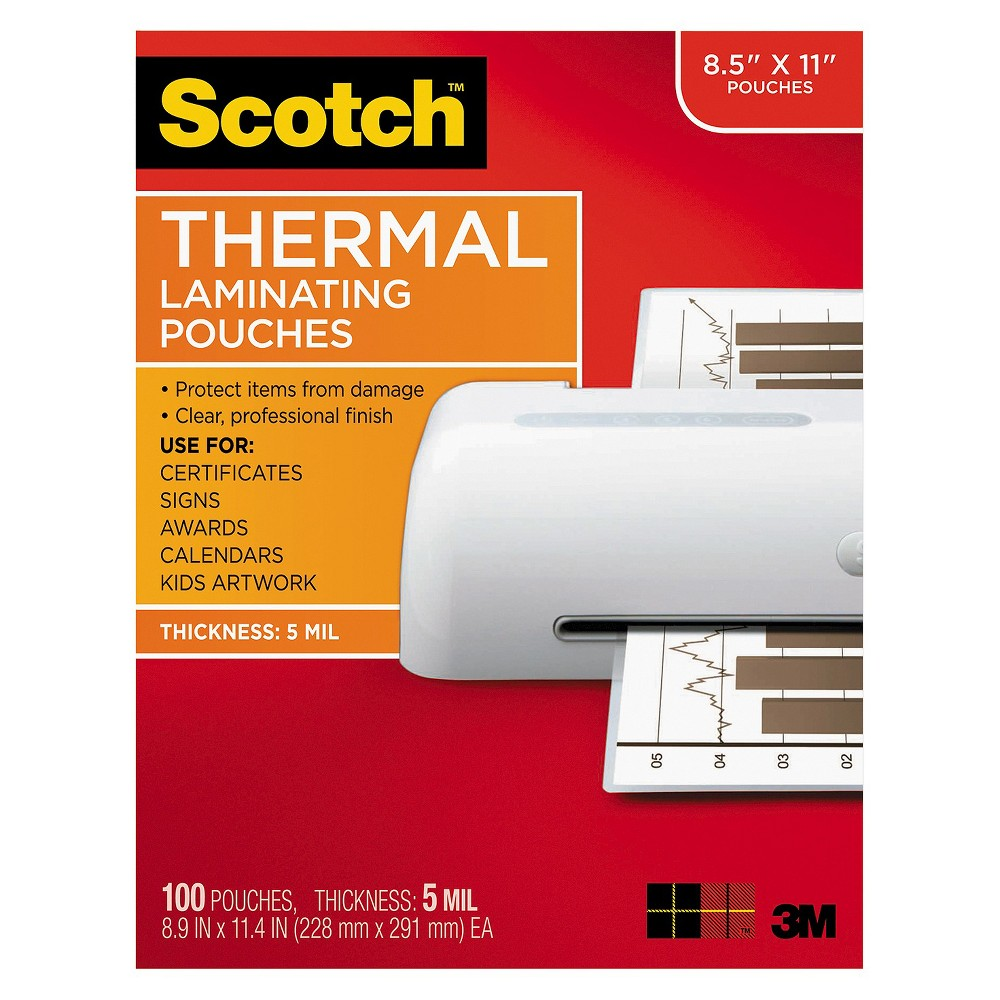 Scotch Letter Size Thermal Laminating Pouches, 5 mil, 11 1/2 x 9, 100/Pack, White