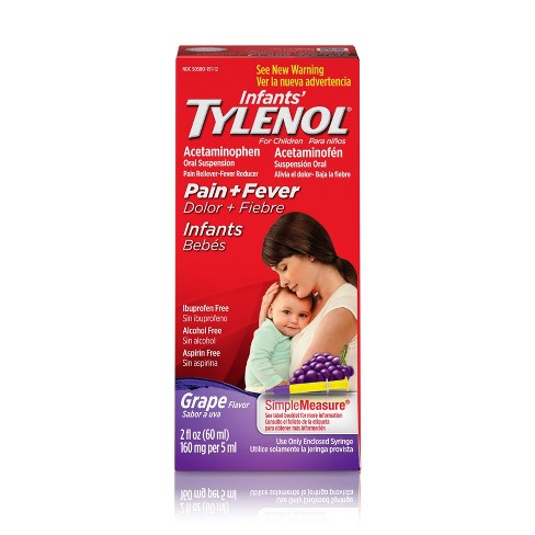 Infants' Tylenol Pain Reliever+Fever Reducer Liquid - Acetaminophen - Grape - image 1 of 3