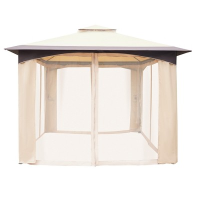 Outsunny 10' x 12' Soft Top Outdoor Canopy Patio Gazebo with 2-Tier Roof, Mesh Netting Sidewalls, & Steel Frame