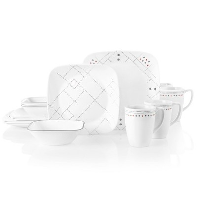 Corelle Studio 16pc Glass Square Raya Dinnerware Set