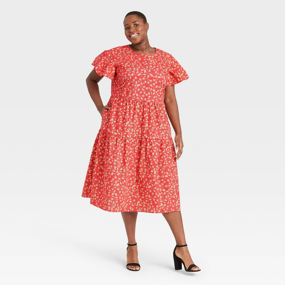 Women 39 S Plus Size Floral Print Flutter Short Sleeve A Line Dress Who What Wear 8482 Red 1x