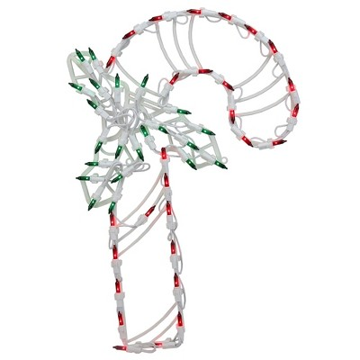 """Northlight 18"""" Red and Green LED Lighted Candy Cane Christmas Window Silhouette Decoration"""