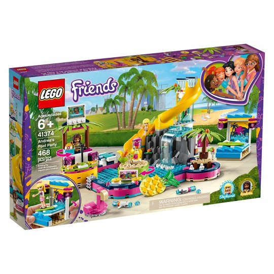 LEGO Friends Andrea's Pool Party 41374 Toy Pool Building Set with Mini Dolls for Pretend Play image number null