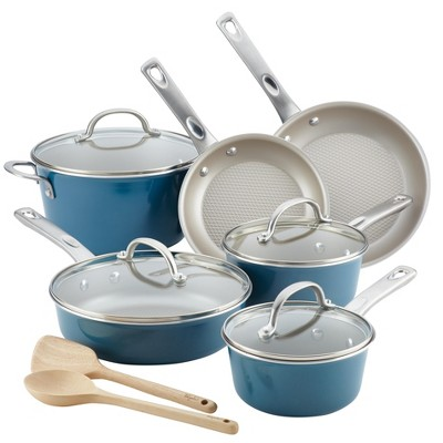 Ayesha Curry 12pc Aluminum Cookware Set Blue