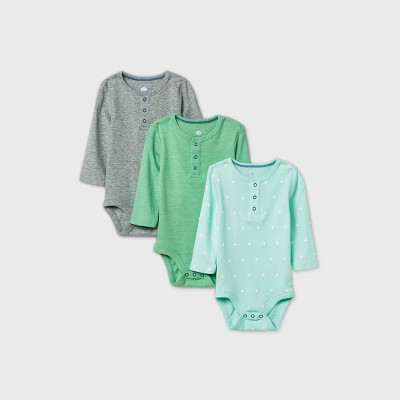 Baby Boys' 3pk Henley Long Sleeve Basic Bodysuit - Cloud Island™ Green 0-3M