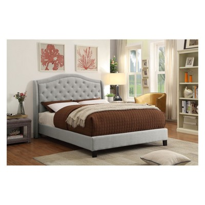 Vivanco Contemporary Camelback Tufted Platform Queen Bed Warm Gray - IoHOMES : Target