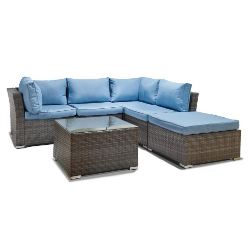 Jicaro 5pc Wicker Sectional Sofa Set - Gray with Light Blue Cushions - Thy  Hom