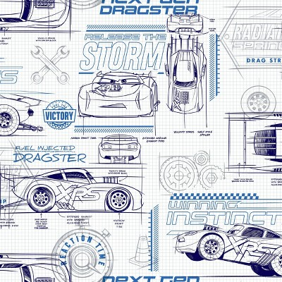 Disney Pixar Cars Schematic Peel and Stick Wallpaper Blue - RoomMates