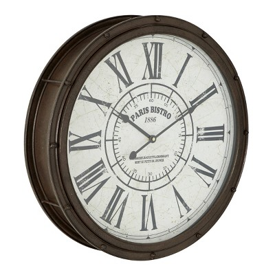 "20"" x 20"" Large Round Metal Wall Clock with Roman Numerals Dark Brown - Olivia & May"