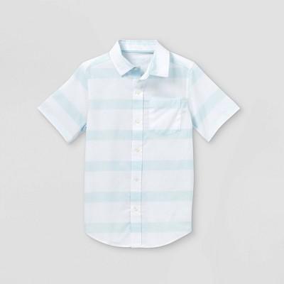 Boys' Woven Short Sleeve Button-Down Shirt - Cat & Jack™ White/Blue